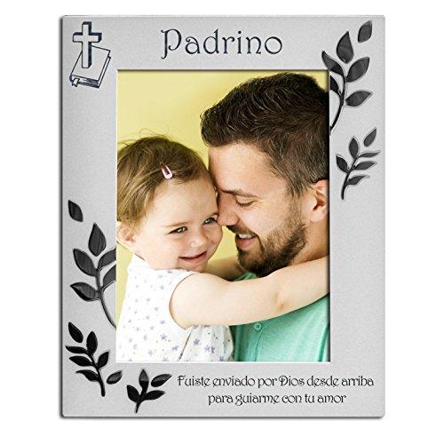 Padrino, chapado en plata, con dorso de terciopelo, marco de fotos, plata mate y brillante, admite una foto de 4