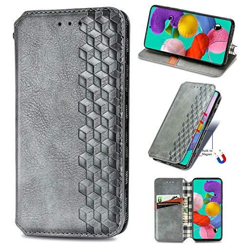 Miagon Samsung Galaxy Note 20 Mode Hülle,Retro PU Leder Flip Brieftasche Abdeckung Magnetverschluss Folio Ständer Kartensteckplätze Handyhülle,Grau
