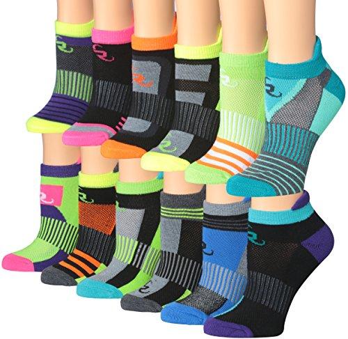 Ronnox Women's 12-Pairs Low Cut Running & Athletic Performance Tab Socks Small/Medium RLT14-AB-SM