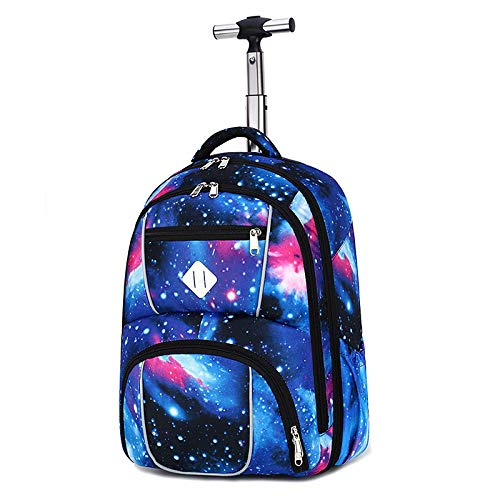B/H Business Travel Wheeled Rolling Trolley Backpack,Mute round aluminum trolley school bag men and women lightweight travel bag-Starry sky 1st generation,Rolling Backpack for Boys