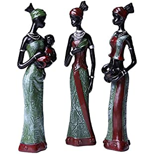 Greencherry African Girl Polyresin Exotic Woman Sculpture Tribal Lady Figurine Statue Decor Collection Color Yellow Pack of 3