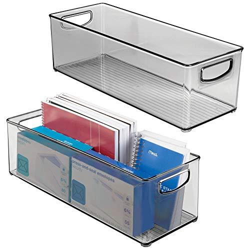 mDesign 2er-Set Aufbewahrungsbox mit integrierten Griffen – für die Aufbewahrung von Küchen-, Badezimmer- oder Büroutensilien – Kunststoffbox für die Schreibtischablage – grau
