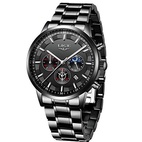 LIGE Herren Uhren Wasserdichtes Edelstahl Chronograph Sport Analog Quarzuhr Männer Business Schwarz Männer Armbanduhr Kalender…