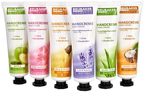 BRUBAKER Cosmetics Handcreme Geschenkset - 6er Pack feuchtigkeitsspendende Hand Cream für trockene, raue, rissige Hände - Feuchtigkeitscreme mit Urea und Sheabutter - Pflegecreme für Frauen und Männer