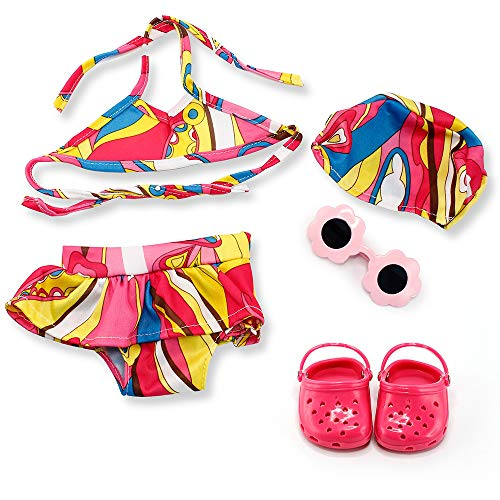 Oct17 Fits Compatible with American Girl 18' Swimming Outfit 18 Inch Doll Clothes Accessories Costume Set Pink Swimmingsuit Sunglasses Slipper Shoes