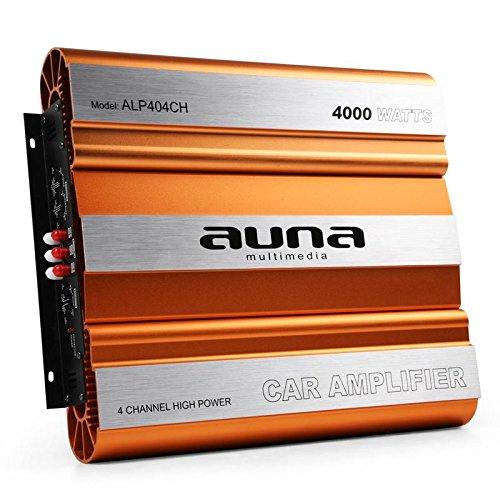 auna ALP404CH - Car HiFi Verstärker, 4-Kanal Auto-Endstufe, Car Amplifier, MOSFET, brückbar, 4/3/2-Kanal Betrieb, 4000 Watt max, Hoch- / Tiefpassfilter, Super Bass, Aluminium, orange