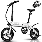 VIVI Ebike Faltrad, 350W Pedelec Elektrofahrrad Damen Herren, 14 Zoll Klappfahrrad E-Bike Leichtes Elektro Klapprad 7.8Ah Lithium-Ionen-Akku Citybike (14 Zoll-Weiß)