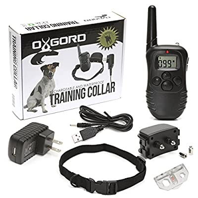 Oxgord Rechargeable Waterproof LCD 100LV Shock Remote Training Collar, 330 yd