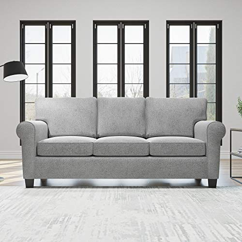 Edenbrook Willow Upholstered Loveseat with Rolled Arms – Contemporary, Casual, Cozy, and Comfortable, Sofa, Misty Gray, EH0007SOF00LG