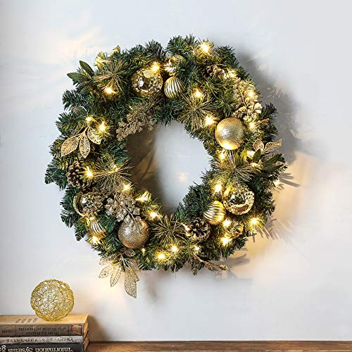 24 Inches Christmas Wreath with LED Lights (Gold)