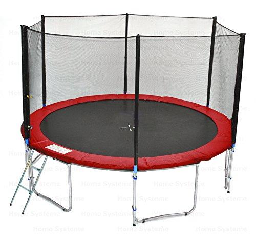 Giardino trampolino (RW) 400 cm con 13ft rete di sicurezza - TÜV / GS / CE - 180 kg forza peso Rete di sicurezza, Scala & Cover