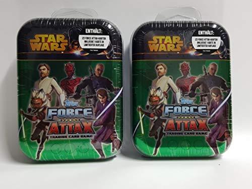 wuselwelt 007529- 2 Stück Star Wars Metall Sammelbox, Clone Wars inkl. 24 Force Attax Karten, Trading Card Game 2er Set