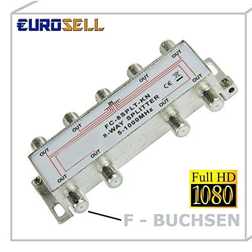 Eurosell - DVBS DVBT DVB-S2 DVB-T2 8-fach Weiche SAT Antennen Kabel TV Verteiler Splitter HDTV 8fach Fernsehen Fernseher Full HD Switch 8er achter achtfach F-Stecker Stammleitungsverteiler