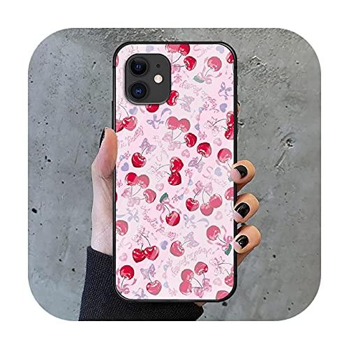 Cherry Phone Cubierta de la caja de vidrio templado para iPhone 6 6S 7 8 11 12 X Xr Xs Se 2020 Pro Max Plus Mini silicona pintura de lujo Etui-9-iPhoneXs