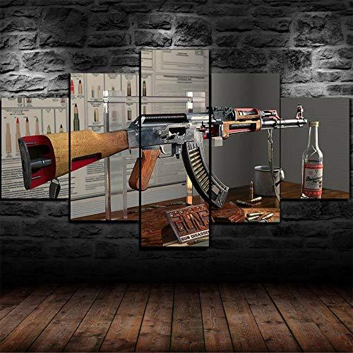 5 Piezas Cuadro Sobre Lienzo Interior De La Anatomía De Una Pistola Ak-47 Poster Arte De La Pared Imagen Impresión Pintura Decoración Cuadro Moderno En Lienzo 5 Piezas Xxl Murales Pared Hogar Decor