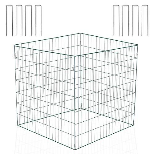 llevantics Drahtkomposter 90x90x70 cm, Metallkomposter für Garten und Außenbereich - fasst bis zu 567 Liter, rost- und wetterfest, mit 8 U-förmigen Befestigungshaken