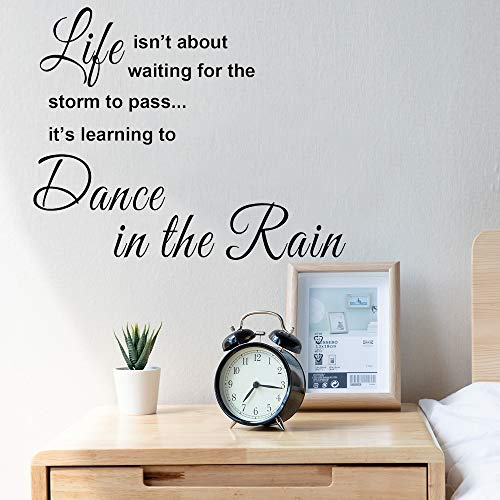 Life Isnt About Waiting for The Storm to Pass Its Learning to Dance in The Rain Wall Decals Inspirational Quotes SizeB