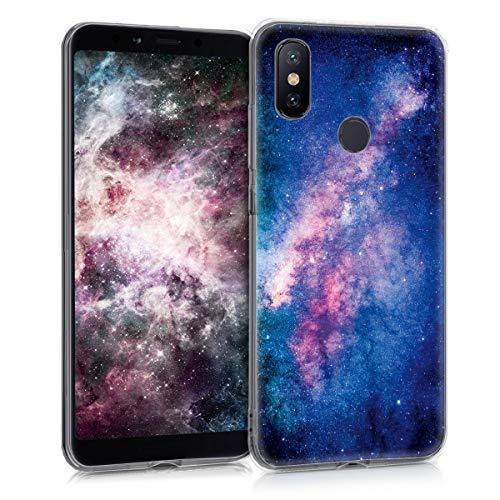 kwmobile Hülle kompatibel mit Xiaomi Mi 6X / Mi A2 - Hülle Handy - Handyhülle Galaxie Sterne Rosa Pink Dunkelblau