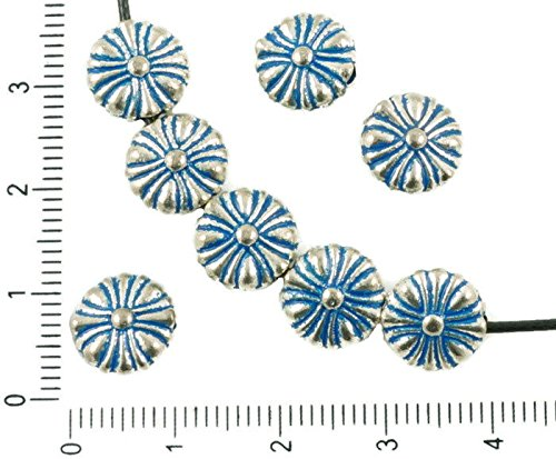 10pcs Antique Silver Tone Blue Patina Wash Daisy Flower Floral Flat Round Beads Charms Bohemian Metal Findings 10mm x 4mm
