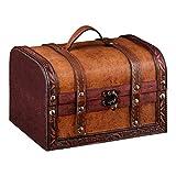 1PLUS Coffre aux trésors - Boîte aux trésors - Coffre en bois et en cuir synthétique - 22*14*14cm - Marron