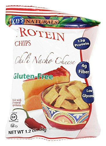 Kay's Naturals Protein Chips, Chili Nacho Cheese, Gluten-Free, Low Fat, Diabetes Friendly, All Natural Flavorings, 1.2 Ounce (Pack of 6)