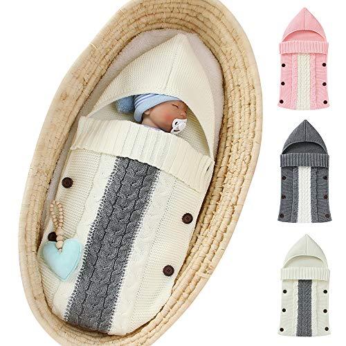 Manta de punto para recién nacido, manta de punto para bebé, suave, gruesa, cálida, para cochecito de cuna, unisex, para niños y niñas blanco blanco Talla:Without Velvet
