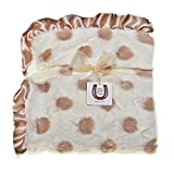 Max Daniel Luxurious Champagne Dots Adult Throw with Satin Ruffle - Soft - Plush