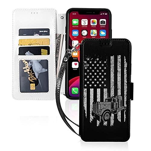LINGF Funda para teléfono,Patriotic Truck Driver Funda con Bandera Estadounidense para iPhone 11 Funda Linda para Mujeres Hombres Funda de Cuero con Correa y Funda Protectora