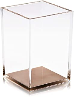 Coideal Acrylic Pen Pencil Holder Cup/Desktop Stationery Makeup Brush Storage Organizer Caddy Box for Desk Table, Office School Supplies, Home Bedroom (Clear with Rose Gold Bottom)