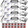 "Chafing Dish Buffet Set w/Fuel - Folding Frame + Water Pan + Food Pan (8 qt) + 8 Fuel Holders + 16 Fuel Cans + 4 Serving Utensils (15"" Perforated and Solid Spoon + two 9"" Tongs) - 4 Full Warmer Kit"