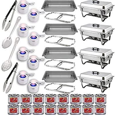 "Chafing Dish Buffet Set w/Fuel — Folding Frame + Water Pan + Food Pan (8 qt) + 8 Fuel Holders + 16 Fuel Cans + 4 Serving Utensils (15"" Perforated and Solid Spoon + two 9"" Tongs) – 4 Full Warmer Kit"