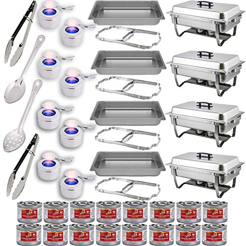 Chafing Dish Buffet Set w/Fuel — Folding Frame + Water Pan + Food Pan (8 qt) + 8 Fuel Holders + 16 Fuel Cans + 4 Serving Utensils (15' Perforated and Solid Spoon + two 9' Tongs) – 4 Full Warmer Kit