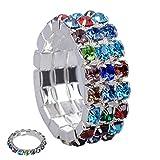 3 piezas estiran el anillo de diamante completo para mujer Rhinestone Toe Ring anillo elástico femenino (Con elástic)