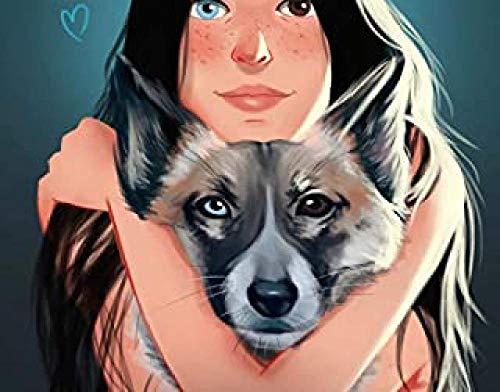 WOMGD® Houten legpuzzels, meisje knuffelen hond puzzel van 1000 stukjes, creatieve doe-het-zelf vrijetijdsspelletjes uitdaging kunstspeelgoed voor volwassenen, kinderen
