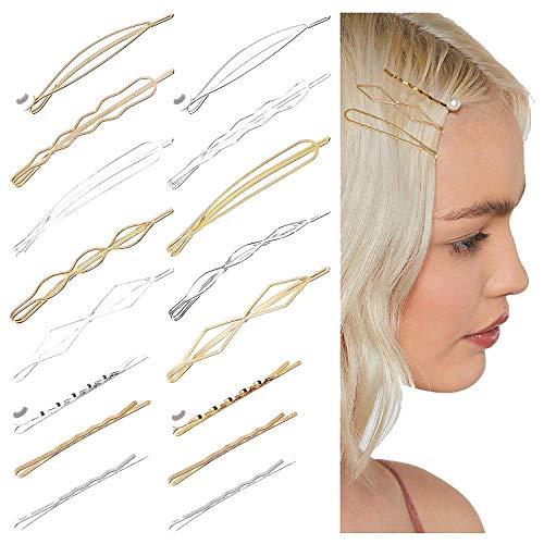WATINC 16 Stücke Geometrische Metall Haarspangen Set Hohl-Design Blattgold Silber Haarclips Mode Perlen Haarnadeln Minimalistische Haarklammern Golden Hairclips Hochzeit Haarschmuck für Mädchen Damen