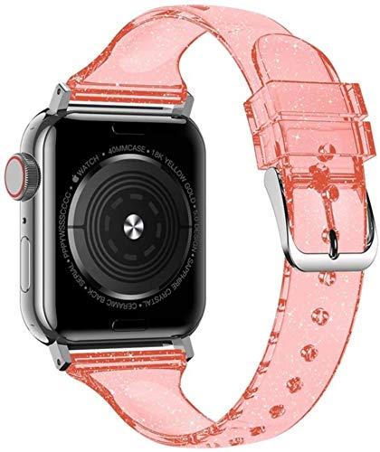Correa de silicona para Apple watch band 40mm 44mm iWatch band 38mm 42mm Slim Glitter pulsera para Apple Watch serie 5 4 3 40 38 42 44 mm