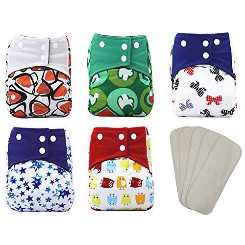 TBATM Baby Taschenwindeln, Mode Schön Pocket Windel Waschbare Für Die Meisten Babys Und Kleinkinder Geeignet 5PCS Windeln + 5PCS Einsätze,3