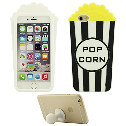 Funda Case Apple iPhone 6 Plus 6S Plus 5.5 inch Blando Silicona Carcasa Protectora Contraportada Palomitas de maiz Forma con 1 Silicona Poseedor