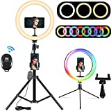 10.2' RGB Selfie Ring Light, RGB Flash Ring Light with Tripod Stand & Cell Phone Holder, LED Dimmable Desktop Beauty Selfie Light for YouTube Video, Live Stream, Makeup - for iPhone & Android