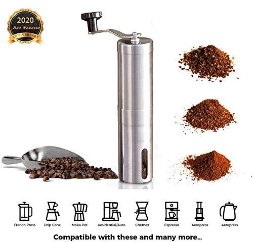 Manuelle Kaffeemühle mit Keramikmühle, Espresso-Kaffeemühle, präzise Einstellung des Mahlgrades, manuelle Kaffeemühle aus Edelstahl, leicht zu transportieren, für Reisen, Familiengebrauch geeignet