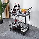 Befrases Bar Serving Cart Home Mobile Kitchen Serving cart on Wheels 2-Tier Wine Cart with Storage, Rolling Bar, 2-Tiered Serving Cart Metal Frame , Black