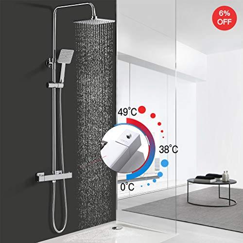 Hochwertiges Duschsystem mit Thermostat, WOOHSE Duschset Regendusche Duscharmatur, Brauseset Dusche mit Thermostatarmatur, verstellbarer Duschstange Duschsäule Set für Bad, Lebenslange Garantie