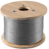 VEVOR Galvanized Steel Cable, 5/16'' Aircraft Cable, 200ft Galvanized Cable 7x19 Construction Steel Wire Cable w/Cable Clamps, 9900lb Breaking Strength for Railing Decking, Lifting, Hanging, Fencing