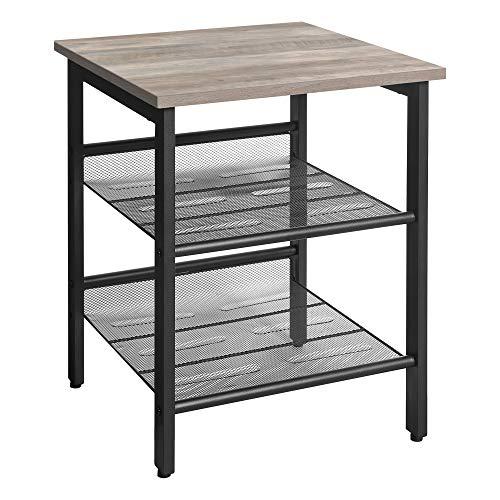 VASAGLE Beistelltisch, Nachttisch mit 2 verstellbaren Gitterablagen, Couchtisch im Industrie-Design, für Wohnzimmer, Schlafzimmer, Flur, Büro, stabil, einfacher Aufbau, Greige-schwarz LET023B02
