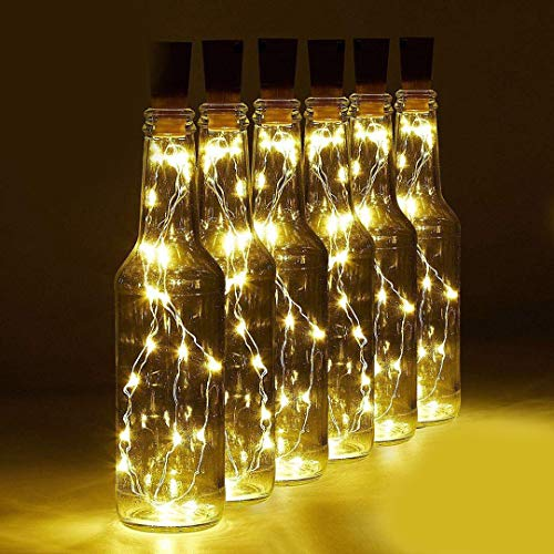 Wine Bottle Light with Cork, 6 Pack Battery Operated Cork Lights for Wine Bottles Cork String Lights Fits All Bottle Shape, 20 LED Warm White Fairy Lights for DIY, Party, Decor, Halloween,Wedding