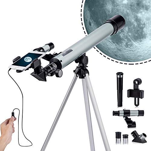 Telescopio astronómico para niños y adultos, con lente astronómica profesional, potente telescopio monocular plateado, 600 mm/50 mm