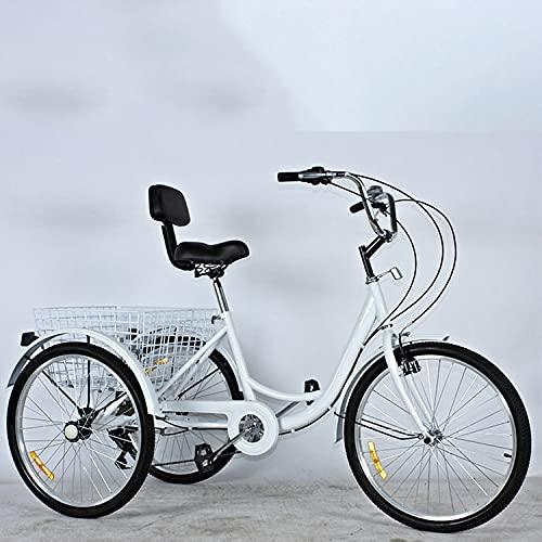 Triciclo para adultos bicicleta 24in Triciclo Adulto 7 Velocidades Bicicletas De Tres Ruedas Con Cesta De Compras Trible Trible Bicicletas Tres-ruedas Con Cesta De Compras Y Cestador De (Color:blanco)