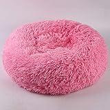 GUIO Lit Rond pour Chien de Compagnie Lit Lavable pour Chat Donut Dog House Sofa Dog Pet Cat Bed, Rose, 60cm