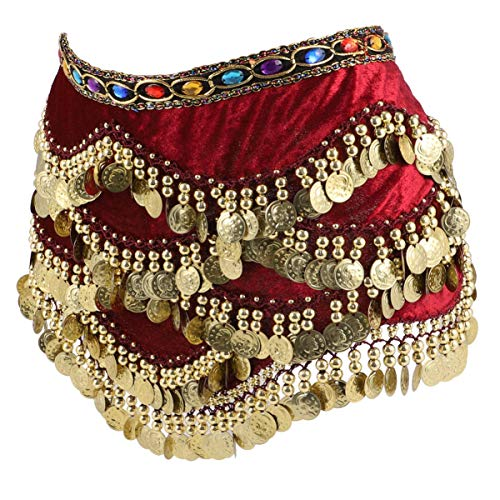 CLISPEED Frauen Bauchtanz Hüfttuch Münzen Röcke Wrap Bauchtanz Fransen Gürtel Schal Kopftuch Taille Kette Leistung Outfits Kleidung Flanell Dunkelrot