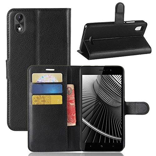 ECENCE Handy-Schutzhülle - Handytasche für Wiko Lenny 4 Plus Schwarz - Smarthone Hülle Cover stoßfest mit Kartenfach - Handycase mit Stand-Funktion 11020308